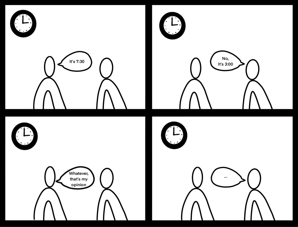 [Image of two people having a difference of opinions on the what time it is]