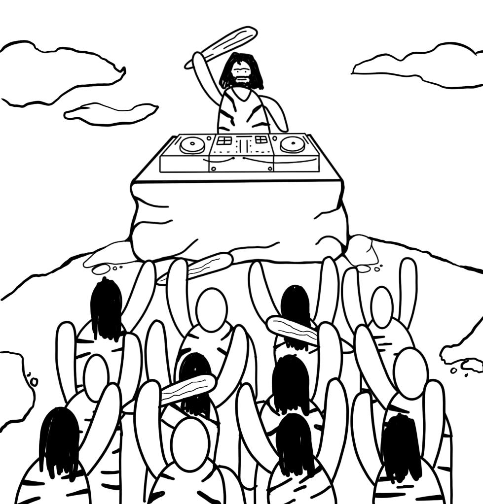 [Cave man DJ'ing atop a mound. Cave people dancing]