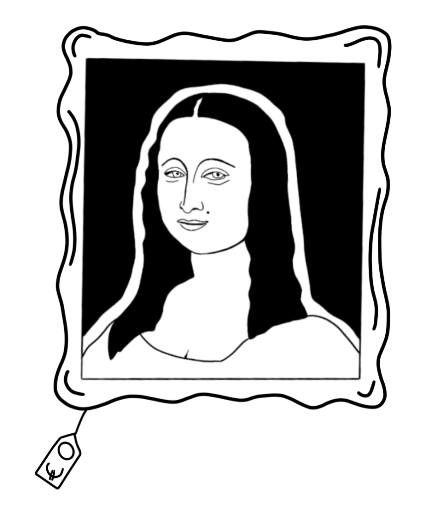 [Illustration of the Mona Lisa with a price tag of €0 hanging from the frame]